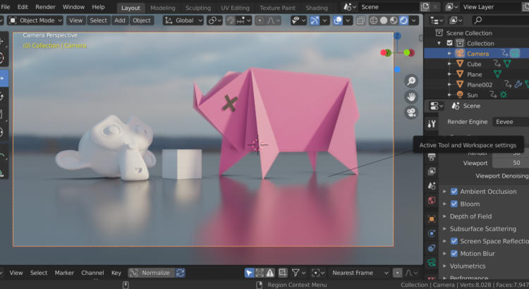 Screenshot of the Blender UI with an origami Pig